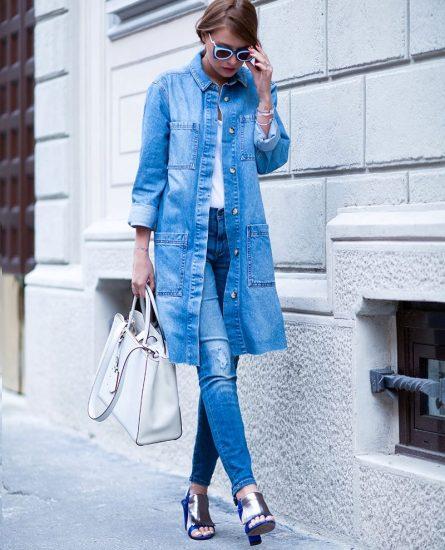с чем носить джинсовый плащ