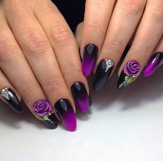 дизайн ногтей с переходом цвета и рисунком