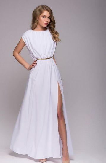 Длинное белое платье с разрезом