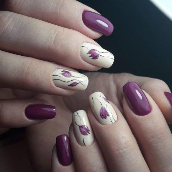 рисунок тюльпана на ногтях