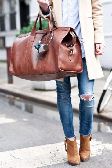 С чем носить сумку-саквояж