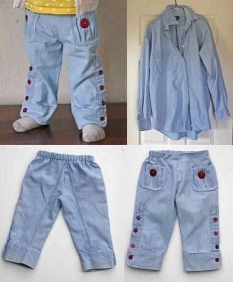 детские брюки из джинсовой рубашки