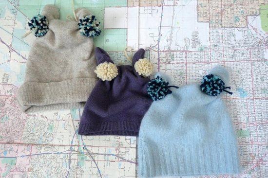 детские шапочки из свитера