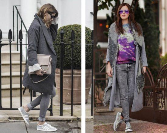 Образы с серыми джинсами