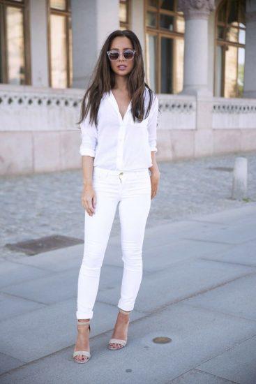 Модный образ с белой рубашкой