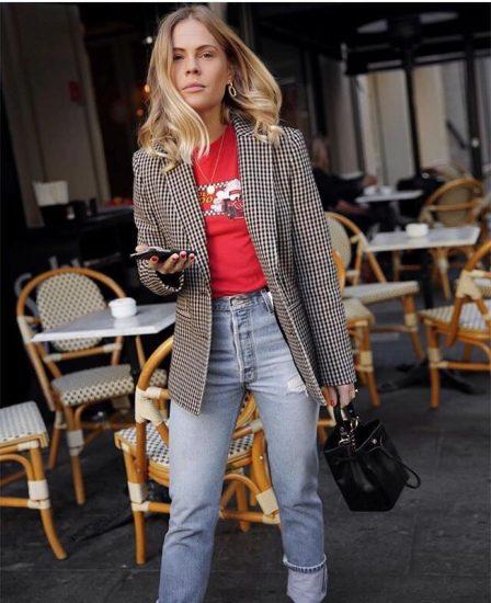 Модный образ с клетчатым пиджаком