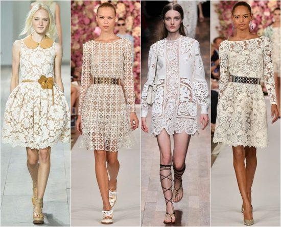 Платья с кружевами на показе мод