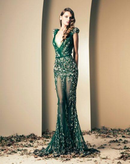 Зелёное платье в пол