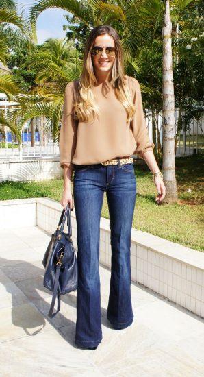 Модный образ с расклешёнными джинсами