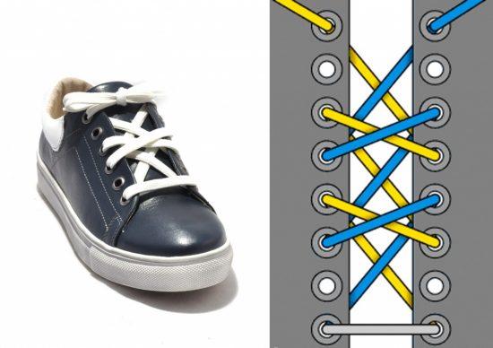 Двойная крестообразная шнуровка