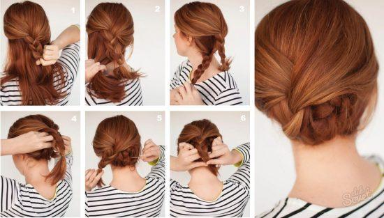 Причёска из кос за 1 минуту