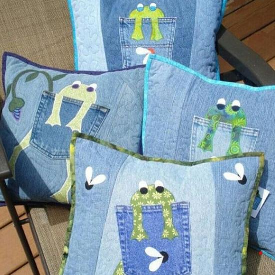 Сидушки на стул из старых джинсов