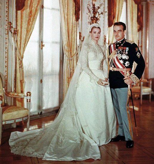 Свадебное фото Грейс Келли и принца Ренье