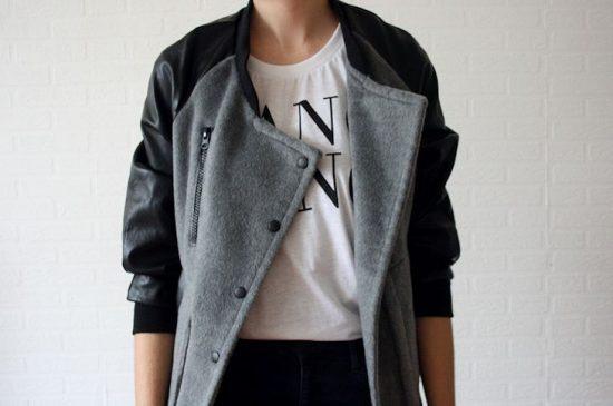Куртка с заклёпками из старого пальто