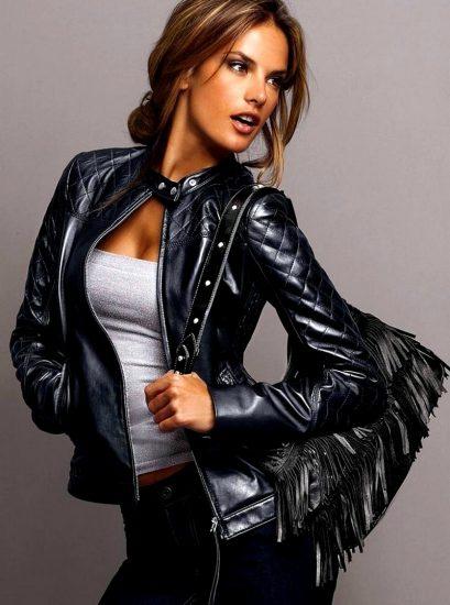 Девушка в чёрной кожаной куртке