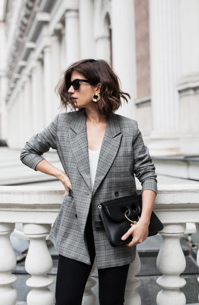С чем носить серый пиджак женский фото