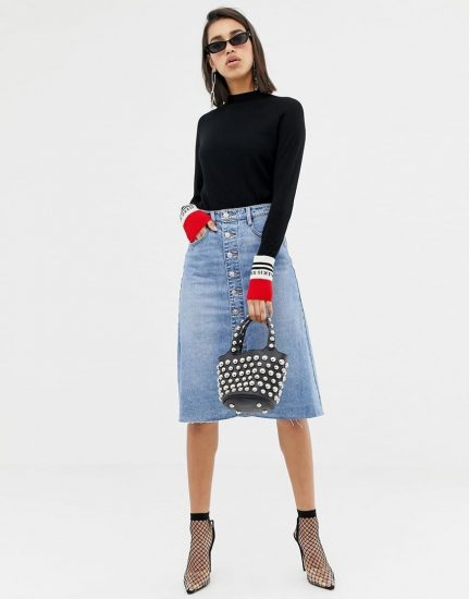 С чем носить джинсовую юбку осенью