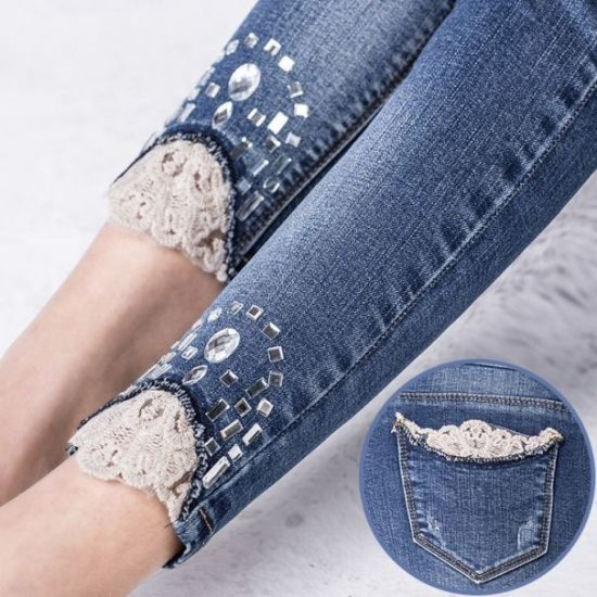 оригинальная отделка низа джинсов
