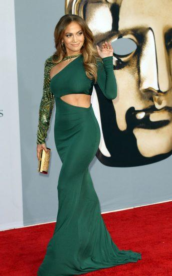 Джей Ло в зелёном платье