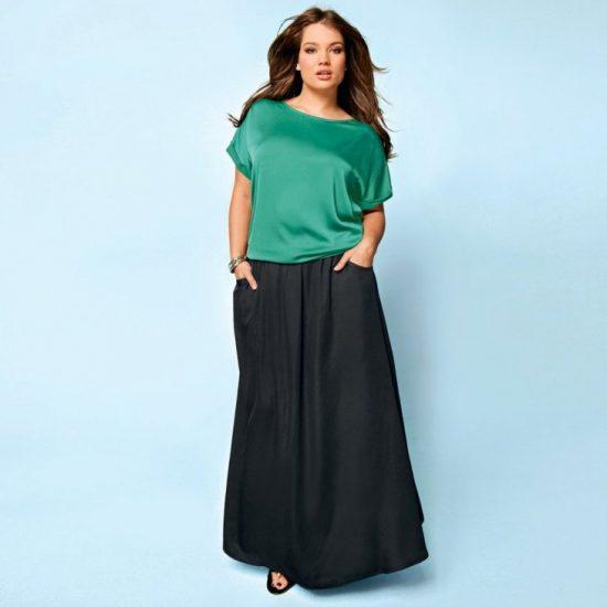 длинные юбки для полных в пол
