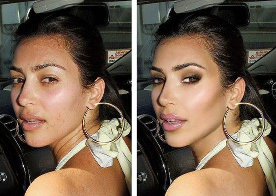 ким кардашян без макияжа и фотошопа