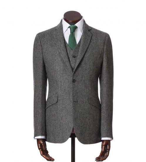Серый мужской твидовый пиджак
