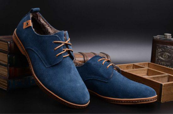 Синяя замшевая мужская обувь